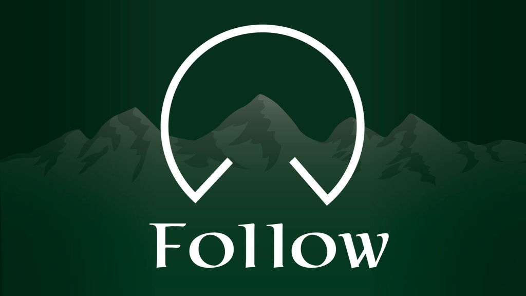 Follow rpg logo over alpine mountain peaks