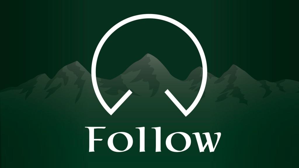 Follow rpg logo over alpine mountain peaks