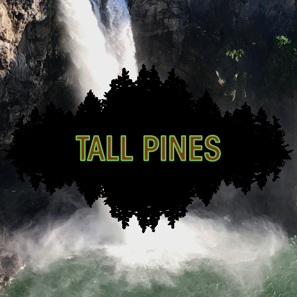 Tall Pines logo over picture of water fall