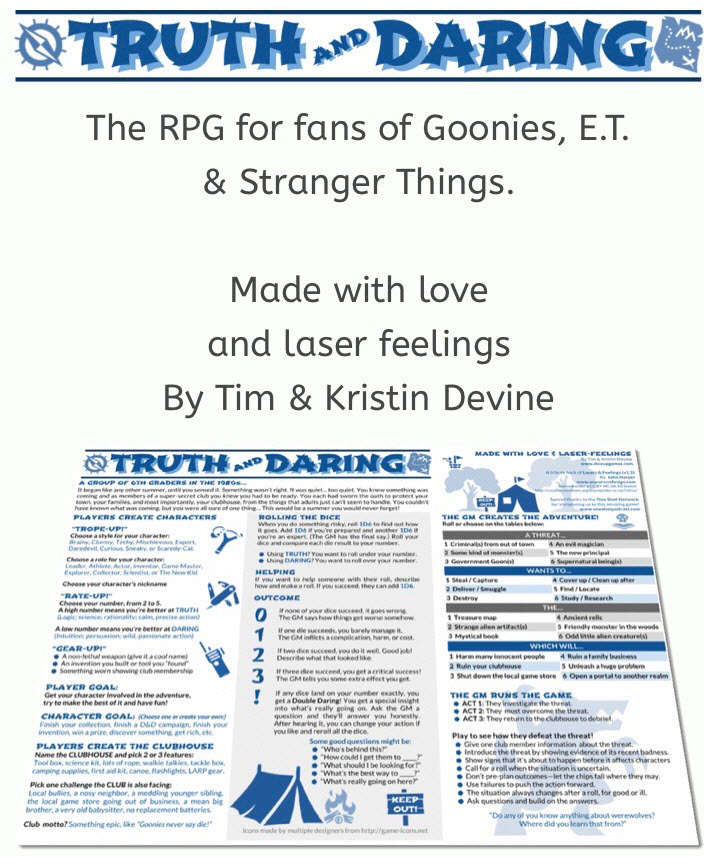 Sale flyer for Truth and Daring game stating its for fans of Goonies, E.T. & Stranger Things. Made with love and laser feelings by Tim & Kristin Devine.