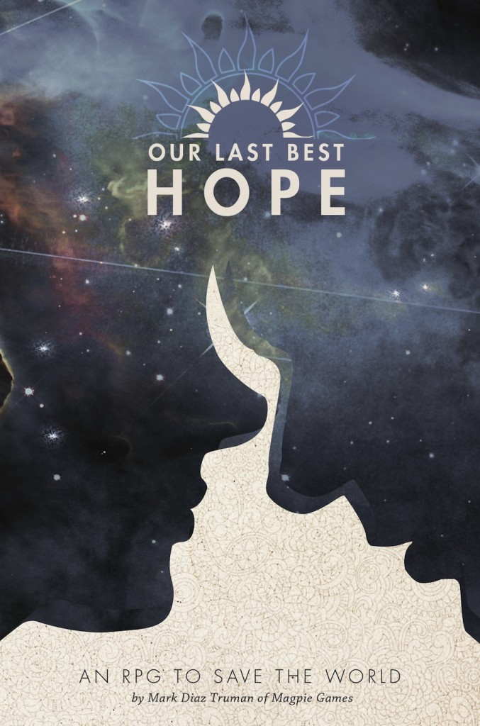 Our Last Best Hope cover: two heads in silhouette leaning against other. The heads are filled with stellar imagery.