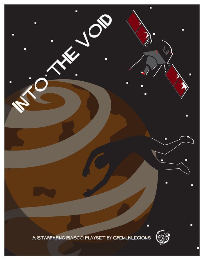 Into the Void cover showing an unknown planet, a satellite in orbit, and a body falling through space.