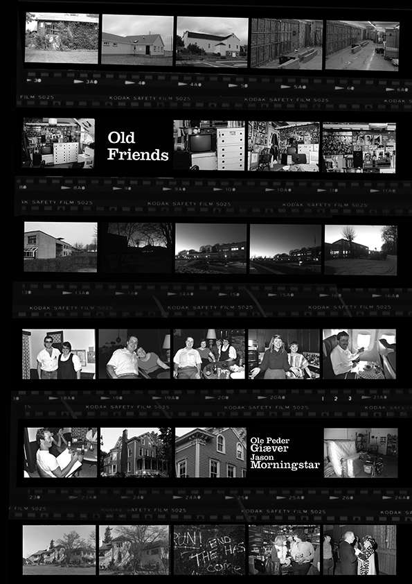 Old Friends Cover showing six filmstrips with photographs of houses and people.