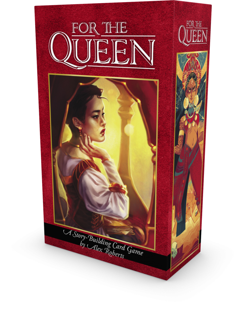"Bright red box shown at an angle so revealing two sides, with ""For the Queen"" at the top and a picture of a queen below on each side."