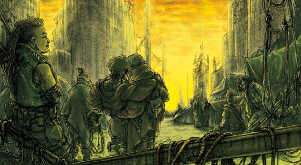Survivors of an apocalypse huddle in the remains of a city carrying gear, wearing punk outfits, and comforting one another before a greenish, yellow dawn.
