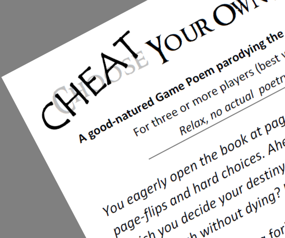 "A corner of the page showing ""Cheat Your Ow..."" and part of the text of the game."