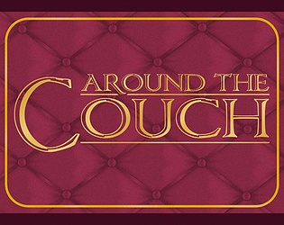 "Red couch upholstery background on which words 'Around the Couch"" appear in gold."