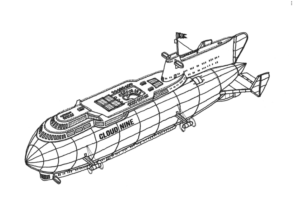 Line drawing of the dirigible air cruise ship the Cloud Nine with it's deck and pool visible on top of the air hold, the conning tower toward the rear of the ship, and gangplanks leading up inside the main body of the ship.