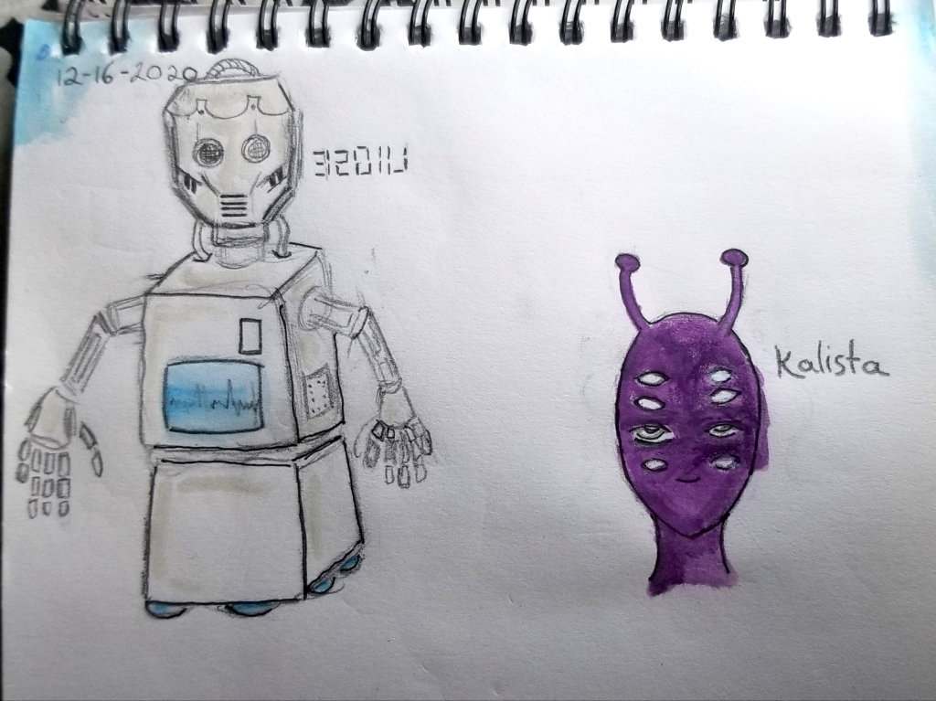 Two of our characters are depicted, the square bodied robot 32011J and the eight-eyed purple-skinned alien Kalista.