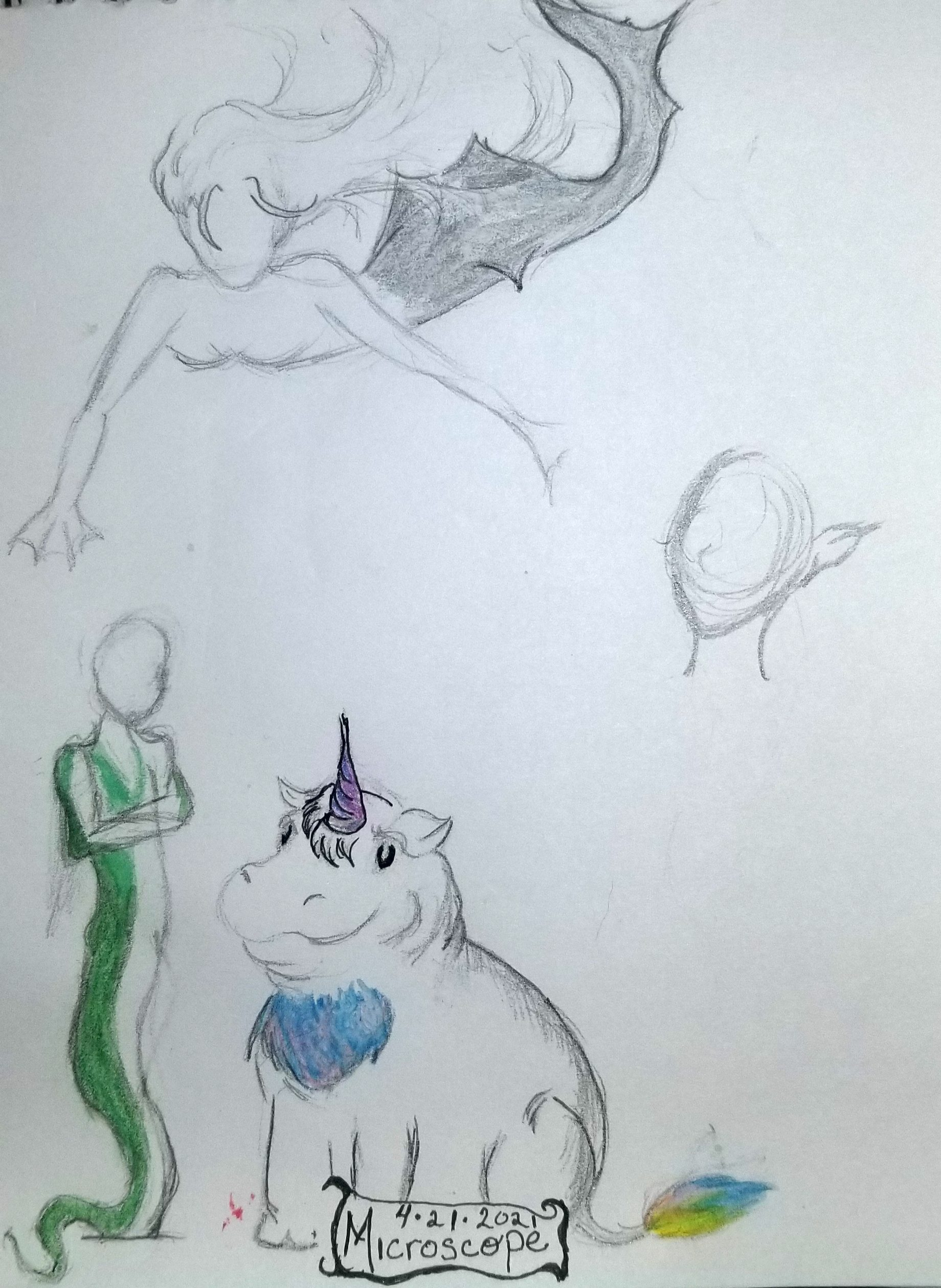 Hand drawing of a snake person, a hippocorn, and an air mermaid flying above them.