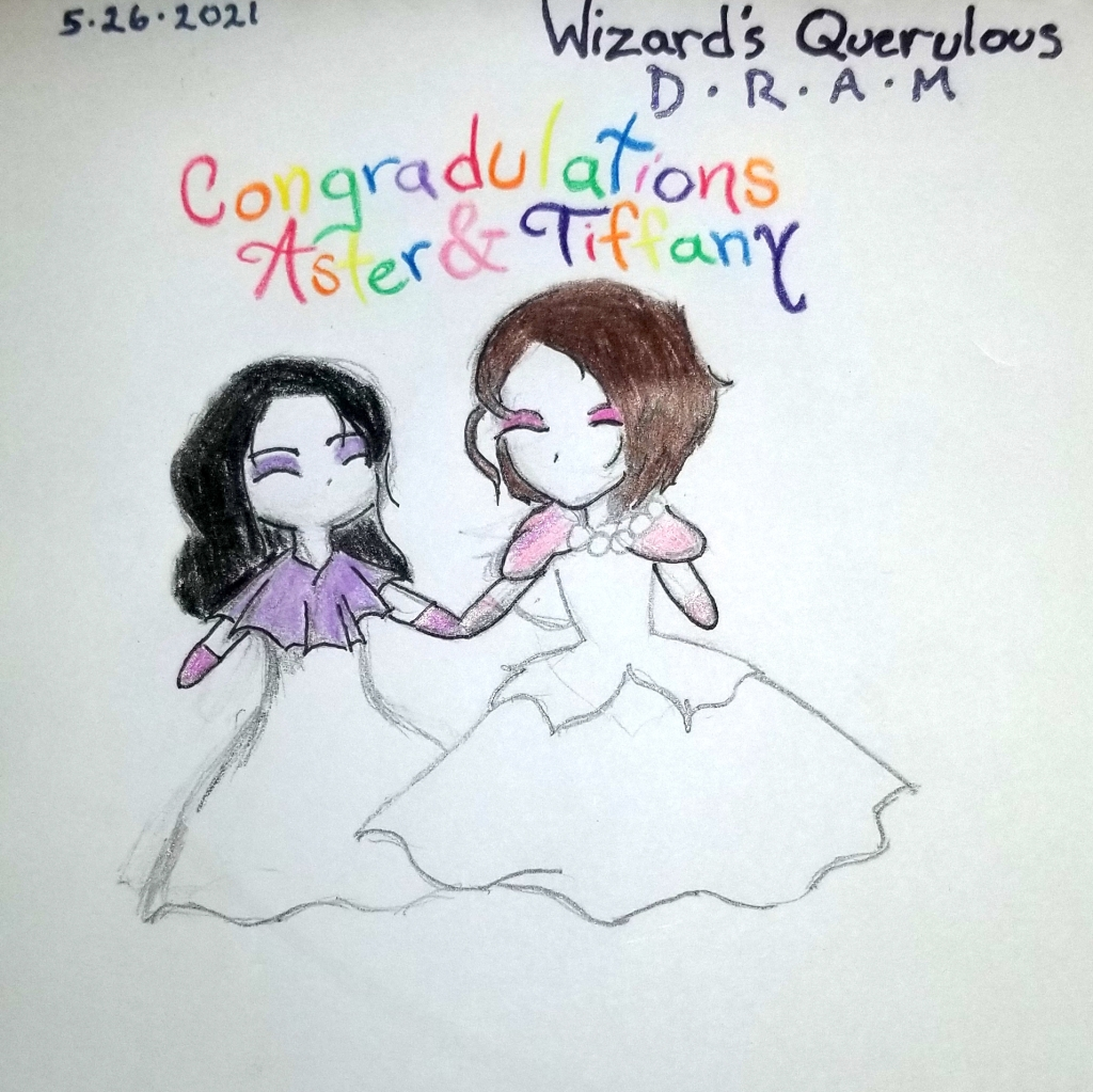 An incomplete drawing of two princesses holding hands, one with purple eyeshadow and shawl, the other in pink.